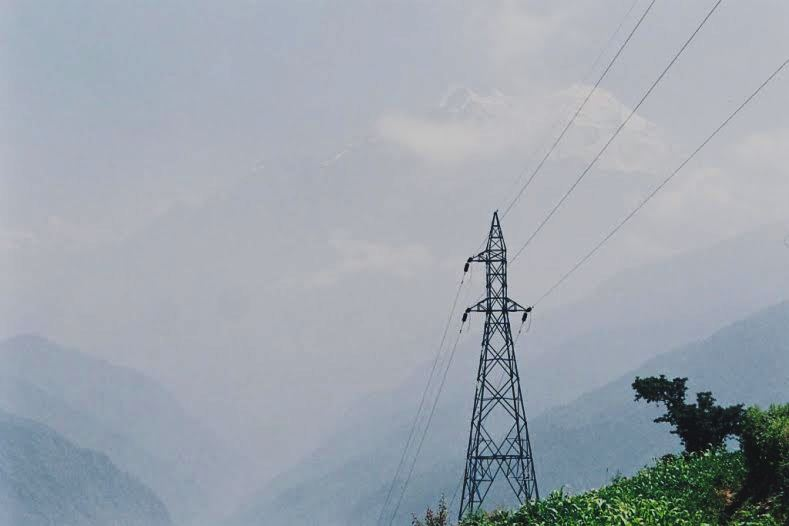 A transmission line in Rasuwa.