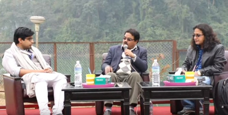 UCPN (Maoist) politburo member Aahuti (center) at Nepal Literature Festival in Pokhara.