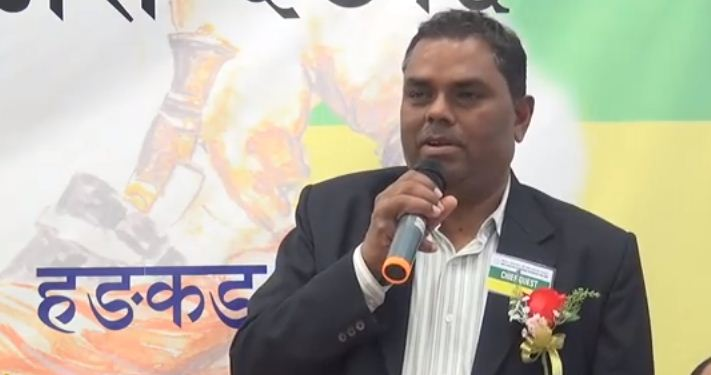 Federal Socialist Forum-Nepal chief Upendra Yadav speaking at a function in Hong Kong on February 14. Photo from youtube video
