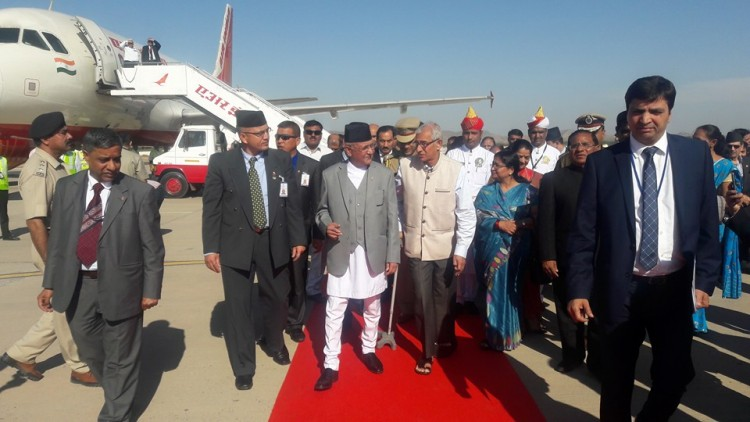 Prime Minister K P Oli and government officials in India's Gujarat in February.     Photo courtesy: Foreign affairs expert Gopal Khanal's facebook