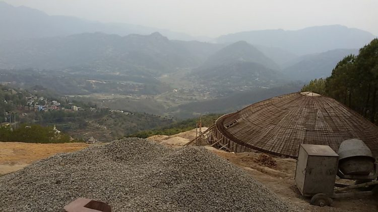 An under-construction water storage tank in Tansen, Palpa. Photo: Mohan Mainali