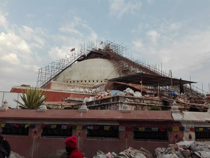 Repair work underway at the Bauddhanath Stupa, which was damaged by the earthquake.                  Photo: Sujit Mainali