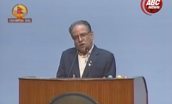 Dahal speaking in parliament last week. Photo: ABSNews/Youtube.com