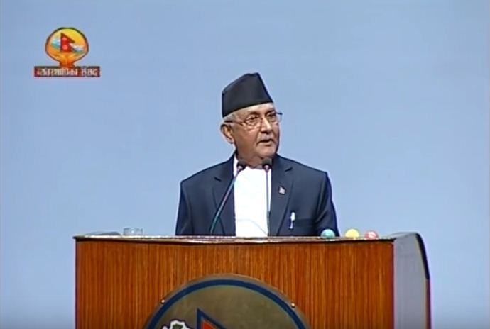 UML chief and former prime minister KP Oli speaking in parliament on September 27. Photo: Youtube