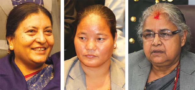 President Vidya Bhandari, Speaker Onsari Gharti and Chief Justice Sushila Karki Photo courtesy: Nepali Times