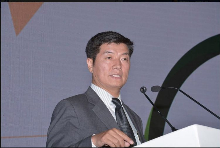 Free Tibet Movement leader Lobsang Sangay addressing the conclave. Photo: India Ideas Conclave