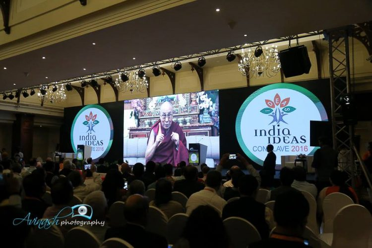 Dalai Lama addressing the conclave through a video message. Photo: India Ideas Conclave