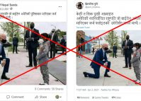 Photo of a kneeling Joe Biden circulating on social media with a false claim